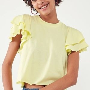 new kimchi blue odette ruffle cropped tee